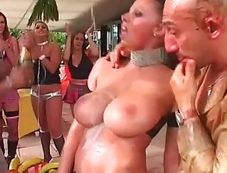 Bunny Young then has to shove black cock into her innocent looking butthole