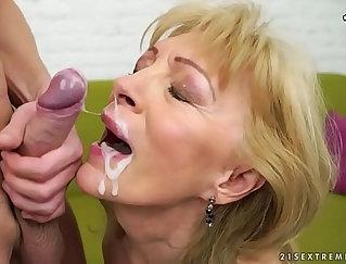Cum hungry granny gets facials