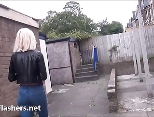 Blonde in outdoor pounding flash, in public to end