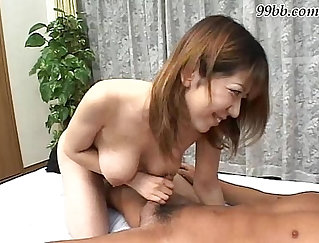Busty japanese waitress tugs and cums