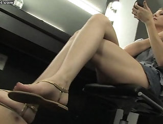 Chesty Cutie Walking in Park undresses and gives a Footjob