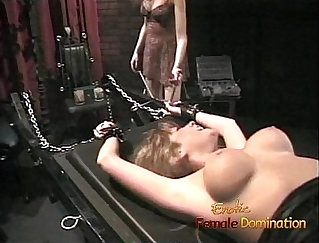 Blonde toying her pussy in the Z dungeon
