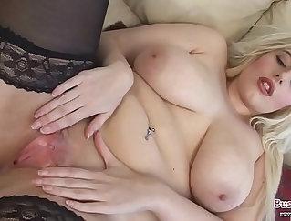 Big breasted blond slut fucks her slit with a fat boner