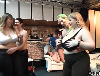 Chubby bitch enjoys her first sex anniversary party
