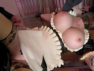 Blonde in latex gloves fucks her twat for camera