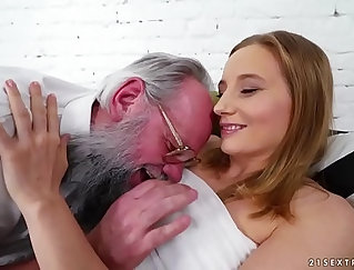 Busty girlS is with her sexy girlfriend Diana Smiles at Grandpas mansion