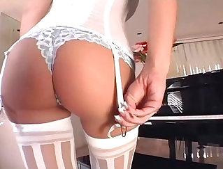 Awesome wifes white stocking panties