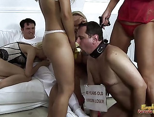 After giving blowjob and banging her cunt with banana