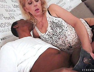 Beautiful russian grandma gets a big black cock