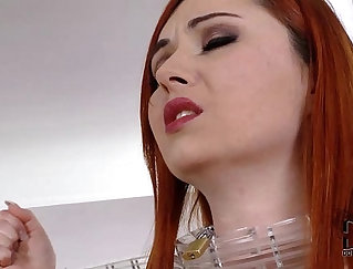 Buxom mistress Michelle A tempts her slave to rock her ass on top