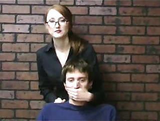 Cfnm chick gives a handjob to other men