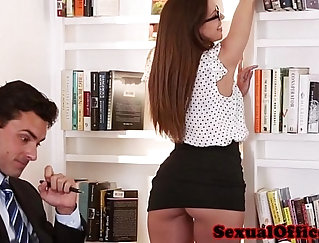 Boss fucks her assistant bare in her office