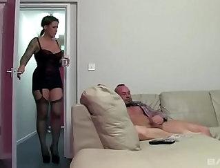 British slut Ulysse Grey gets joined by two men for a long ha