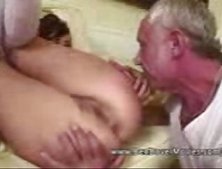 sexy little bald wench is getting fucked by a grandpa