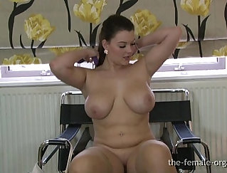 Big breasted babe needs an orgasm load of chunky beaver