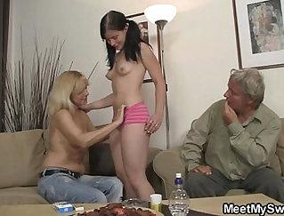 Big titted stepmom titfucks her horny GF